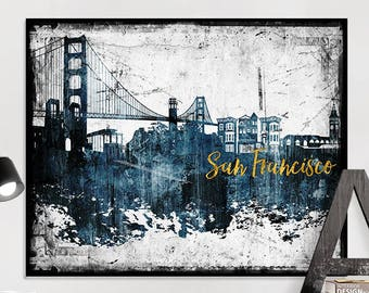 San Francisco Art Print, San Francisco Poster, San Francisco Skyline Art,  Distressed Wall Art, Travel Decor, Home Decor, IPrintPoster