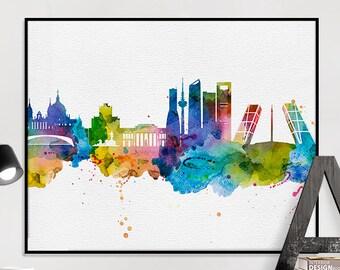 Madrid art print, Madrid poster, Madrid skyline watercolour print, Madrid wall art, travel poster, home decor, gift, iPrintPoster