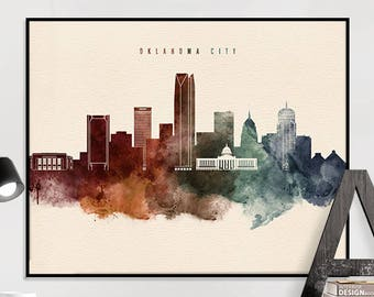 Oklahoma City art print, Oklahoma City poster, Oklahoma City wall art, Oklahoma City skyline watercolour print, travel poster, iPrintPoster