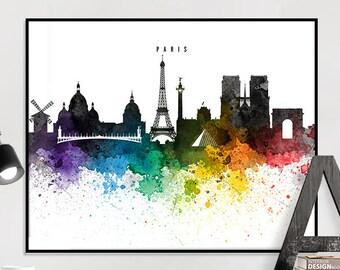 Paris poster, Paris art print, Paris skyline watercolour print, Paris wall art, travel poster, home decor, gift, iPrintPoster