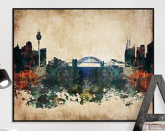 Sydney art print, Sydney poster, Sydney skyline art, Sydney distressed wall art, travel decor, home decor, iPrintPoster