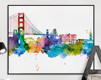 San Francisco art print, San Francisco poster, San Francisco skyline watercolour print, wall art, travel poster, home decor, iPrintPoster