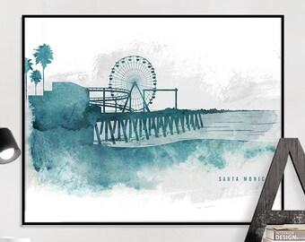 Santa Monica art print Santa Monica skyline poster, travel poster, home decor, art prints, travel gift, iPrintPoster