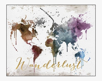 World map poster world map wall art world map art large wanderlust world map wanderlust poster large world map travel map world map wall art home decor gift travel wall decor iprintposter gumiabroncs Images