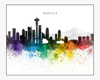 seattle skyline etsy