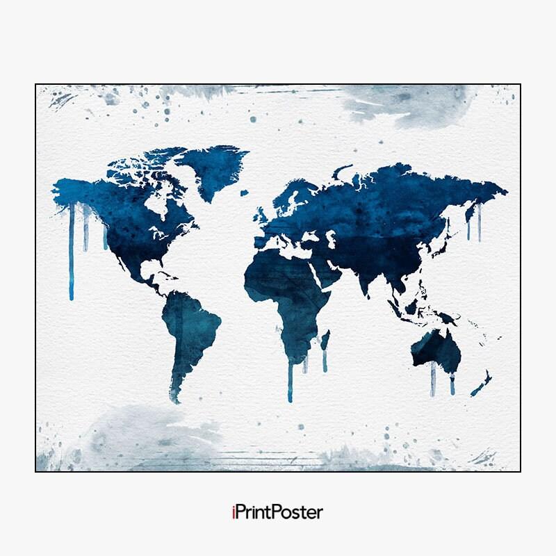 world map wall art, world map poster, large world map, world map art ...