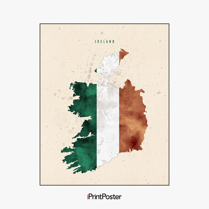 Map Of Ireland Print.Ireland Map Print Ireland Flag Poster Ireland Map Flag Art Etsy