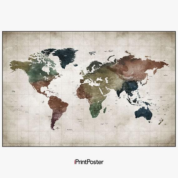 Large world map world map poster world map art travel map etsy image 0 gumiabroncs Choice Image