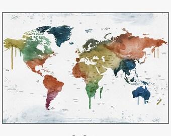 world map art, large world map, world map poster, travel map, world map wall art, home decor, gift, travel, wall decor, iPrintPoster