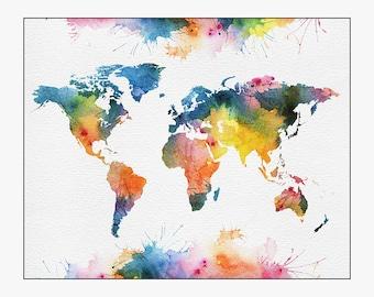 world map poster, world map wall art, world map art, large world map, travel map, home decor, gift, travel, wall decor, iPrintPoster
