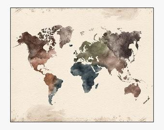 world map wall art,  large world map, world map art, world map poster, travel map, home decor, gift, travel, wall decor, iPrintPoster