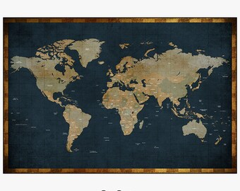 large world map, world map poster, world map art, travel map, world map wall art, home decor, gift, travel, wall decor, iPrintPoster