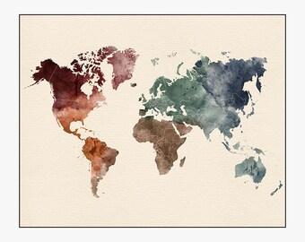 world map art, world map poster, large world map, travel map, world map wall art, home decor, gift, travel, wall decor, iPrintPoster