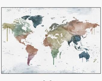 world map poster, large world map, world map art, travel map, world map wall art, home decor, gift, travel, wall decor, iPrintPoster