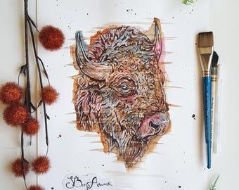 Watercolour bison, bison head, bison wall art, bison print, boho decor, bison buffalo, native American decor, native American, cow decor