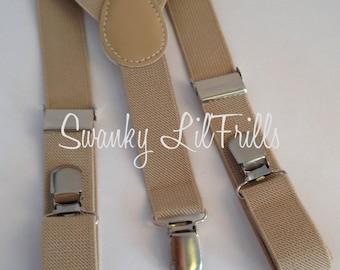 Beige Boys Suspenders, Beige Wedding, Ring Bearer, Suspenders, Toddler Suspenders, Braces, Adjustable Suspenders, Ring Boy Suspenders
