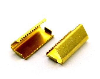 100 pcs 10x15 mm Raw Brass Ribbon Crimp Ends With Loop Findings
