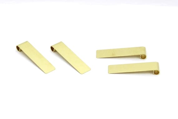 1 Hole Raw Brass Hammered  Rectangle Findings 0.8 x 10 x 30 mm