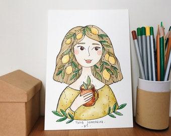 Lemon Girl original watercolor illustration