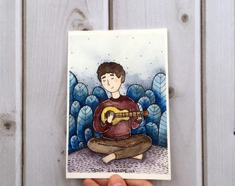 songs in the garden - original watercolor art