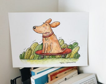 Skater Dog original watercolor illustration