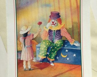 Vintage greeting card - Vintage sad clown card