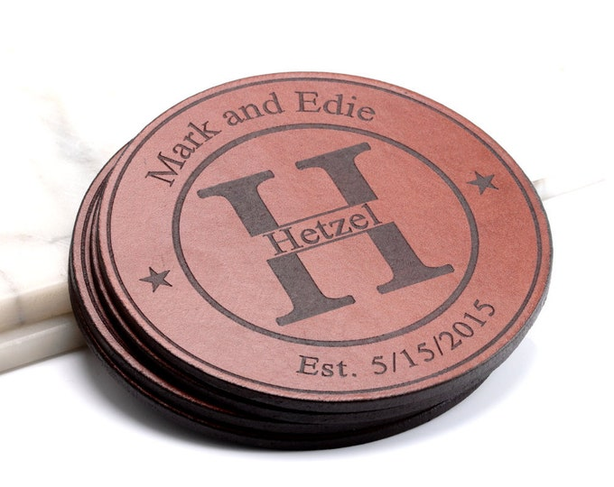 3rd Anniversary Gifts for Men, Leather Anniversary Gift for Man, 3rd Anniversary, Personalized Anniversary gift,  Personalized Coasters