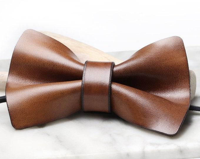 Leather Bowtie, Brown Leather Bowtie, Leather Bowtie Wholesale, Leather Bowtie Bulk Order, Pre-tied Bowtie