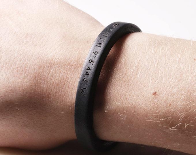 Black Bracelet Engraving, Black Bracelet Men, Black Bracelet for Guys, Anniversary Gifts for Boyfriend,  Coordinate Bracelet, Fiance Gifts