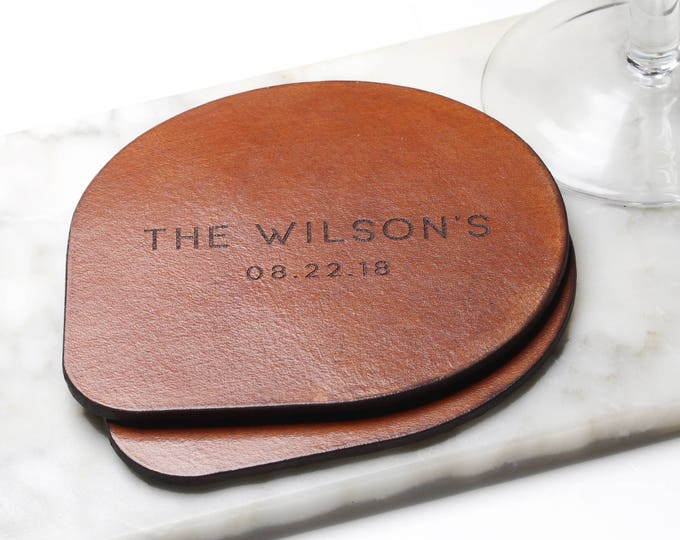 Leather Coasters, Wedding Gift for Couple,  Gift for New Weds, Establish Gift, Last Name, Family Established, Coaster Set