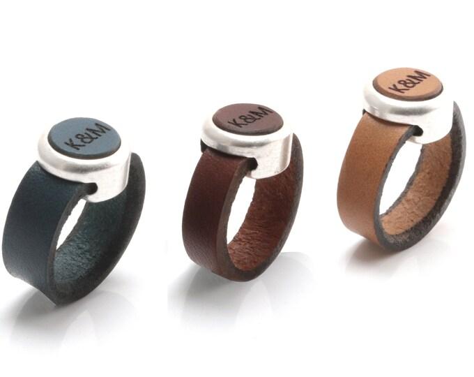 Personalized Leather Ring, Leather Ring, Leather Anniversary Ring, Women Leather Ring, Leather Statement Ring, Boho Leather Ring