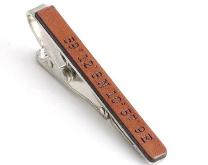 GPS Coordinates Tie Clip, Coordinates Gift, Leather Anniversary Gift, Wedding Tie Clip, Custom Tie Clip, Personalized Tie Bar, Tie Clasp