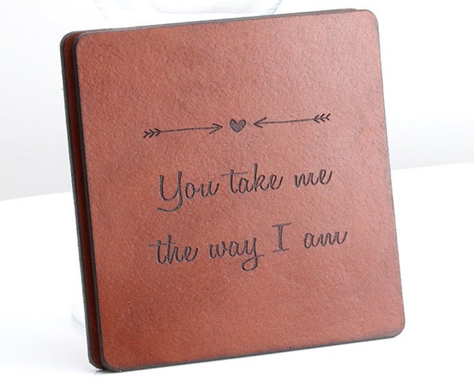 Wedding Song Lyrics,Song lyric art,Personalized Coasters Set,3rd Leather Anniversary Gift,Housewarming gift,Gift for Him,Valentine's Present