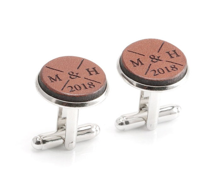 Personalized Wedding Cufflinks, Groom Cufflinks, Custom Cufflinks with your Initials and Year, Groom Gift,  Gift for Husband