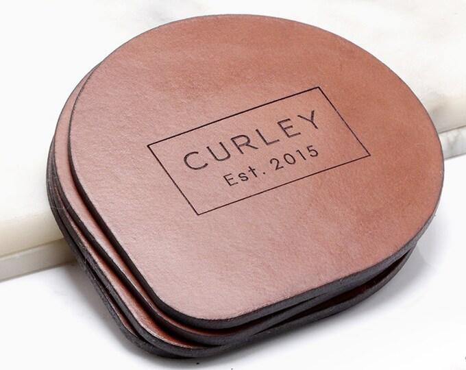 3rd Anniversary, Leather Anniversary Gift, Personalized Leather Coasters, Gift for her, Third Anniversary, Custom Last Name and Date