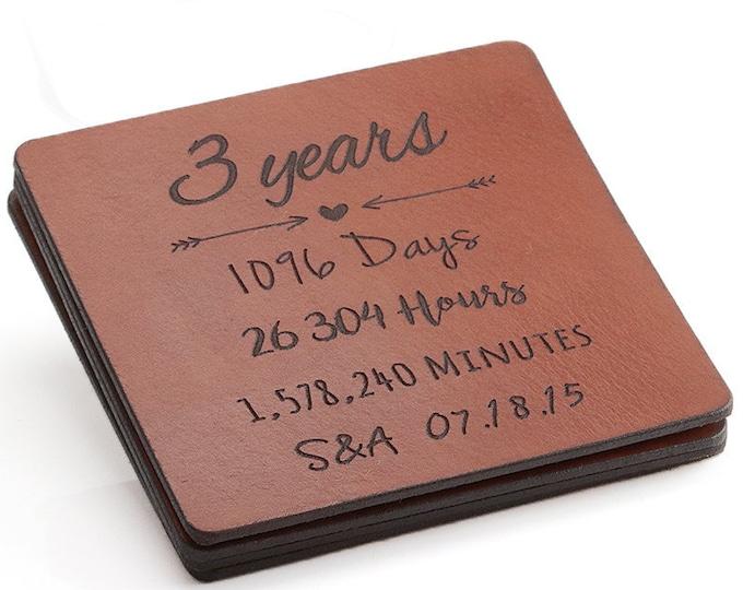 3rd anniversary gift leather, 3 Year Anniversary Gift, Leather Coasters, 3rd Anniversary Gifts for Men, Leather Anniversary for Her, Third