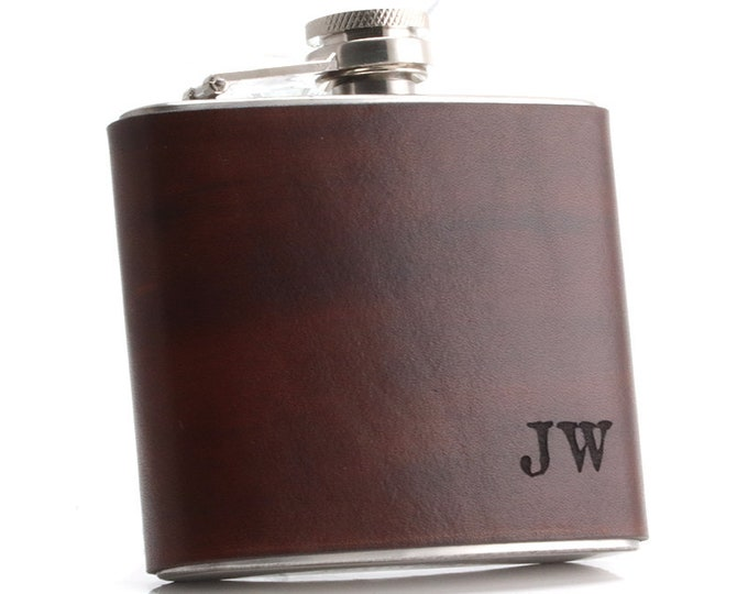 Personalized Flask, Custom Hipflask, Custom Name Flask, Initials Dlask, Leather Hip Flask, Whiskey Flask, Custom Leather Flask, Etched Flask