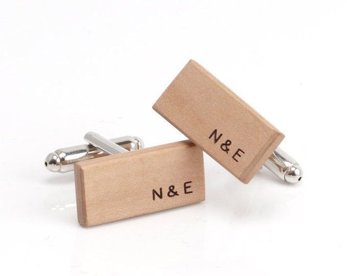 Rectangle Cufflinks, Bar Cufflinks, Bespoke Gift,  Bar Cuff Link, Personalised Gift, Grooms Wear, Mens Cufflinks, Cufflinks Wood, Wooden
