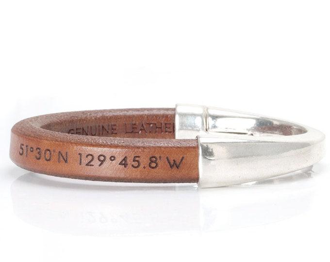 Coordinates Bracelet, Coordinates Bracelet for Women, Coordinates Bracelet Leather, Latitude Longitude Bracelet Leather, Coordinates Jewelry