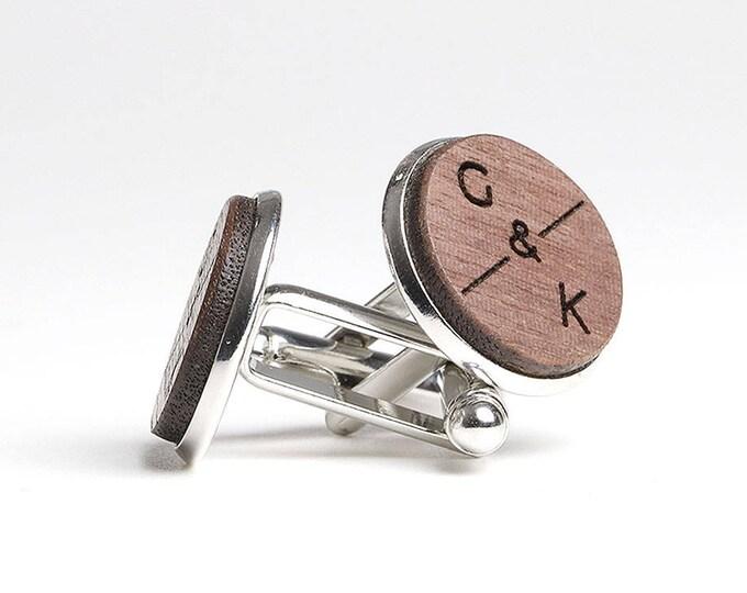 5th Anniversary Gift for Him, Wooden Cufflinks, Wood Anniversary, Walnut Wood Cufflinks, Established 2012, 5 Year Anniversary Gift, Craftive