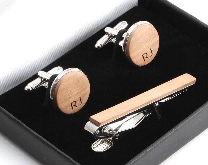 Gift for Him, 5 Year Anniversary Gift for Him, Cufflinks Tie Bar Set, Set, 6 Year Anniversary, Wood Tie Clip, Wooden Tie Clip Cufflinks