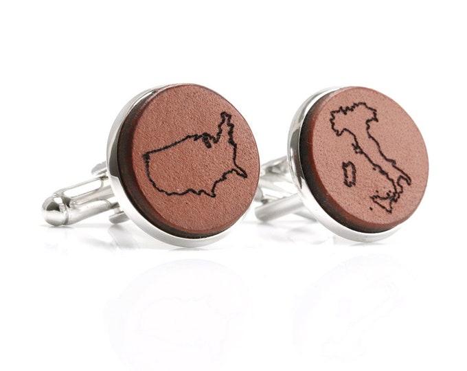Map Cufflinks, Map Cuff Links, Custom Map Cufflinks, Map Cufflinks Engraved, Dual Citizenship Gift, Dual Citizenship, Citizenship Gift