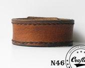 Thick leather bracelet, Hand-stitched armband, Wristband Cuff, Mens bangle, Rustic, Custom Size, Jewelry, Craftive