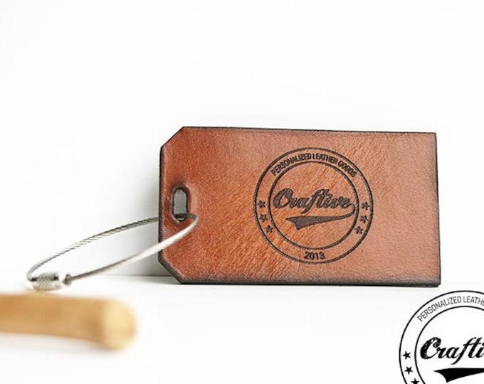 Logo Luggage Tag, Leather Luggage Tag, Personalized  Leather Tag, Brand Leather Label, Leather Label for Bags, Custom Leather Tag Logo