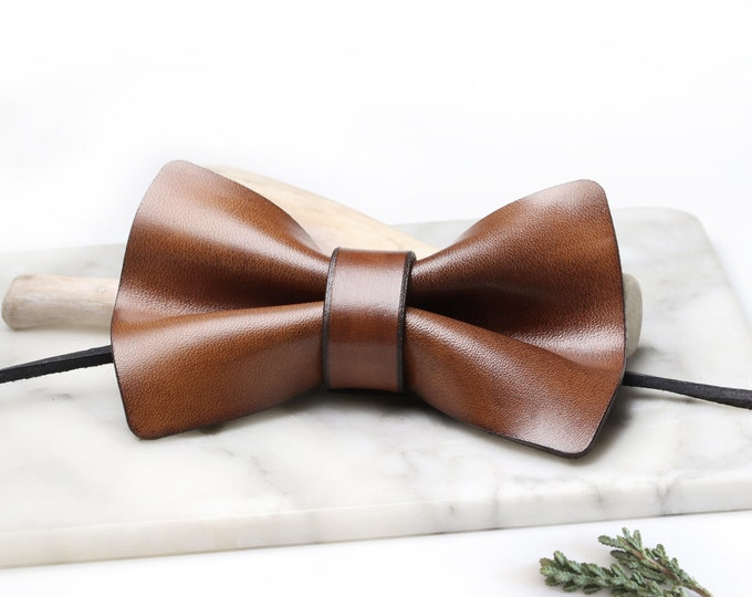 Leather Bowtie, Mens Accessories, Wedding Gifts, Gift for Men