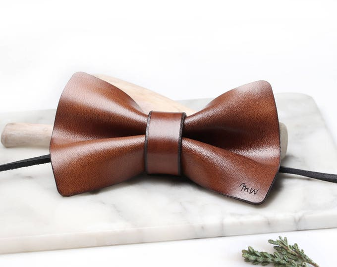 Leather Anniversary Gift for him, 3rd Anniversary Gift for Men, Anniversary Gift for Husband, Monogram Bow Tie, Personalized Bowtie