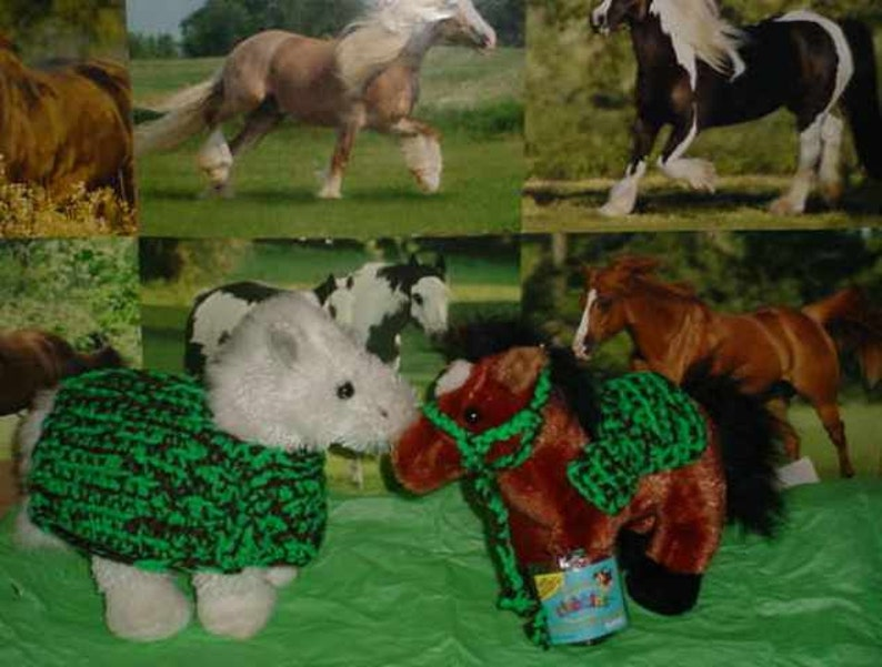 Halter Ty\u2019s etc. Lead Rope /& Saddle Blanket for 10\u201d stuff animals like Webkinz Crocheted Horse Blanket