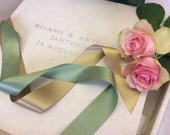 """12  x 12""""  Personalised wedding album &  storage box bound in 'antique white' linen"""