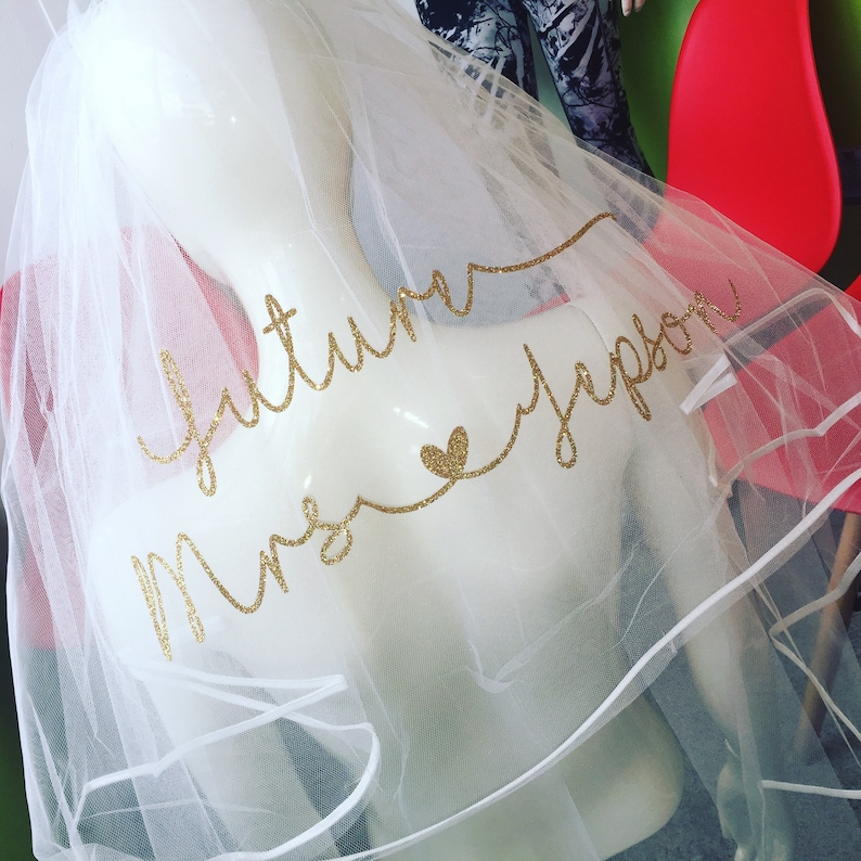 Gold Glitter hen do gift Personalised wedding Veil  With Comb Bride To Be
