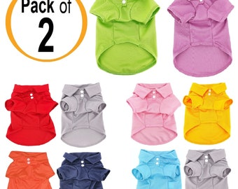 07758d73e PACK of 2 Colors Dog Polo Shirt T-Shirt Puppy Cat Solid Clothes Apparel For SMALL  Pet XS - M